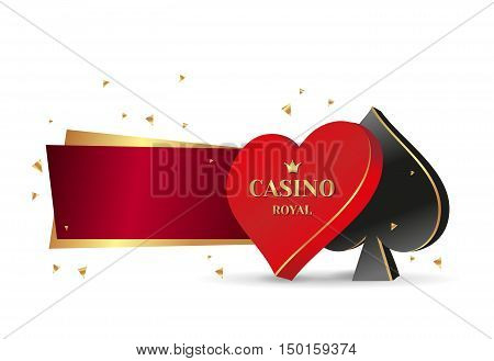 vector Banner 3D symbol playing cards clubs and spades. Banner casino Royal with golden highlights.