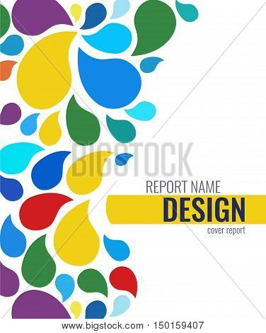 Cover design with color drops. Brochure Flyer design Layout template, Vector color drops for business. annual report, book cover.