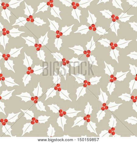 Winter seamless vector pattern with holly berries. Part of Christmas backgrounds