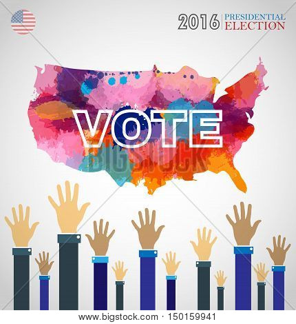 Digital vector usa presidential election 2016 with abstract country map and hands in the air, flat style