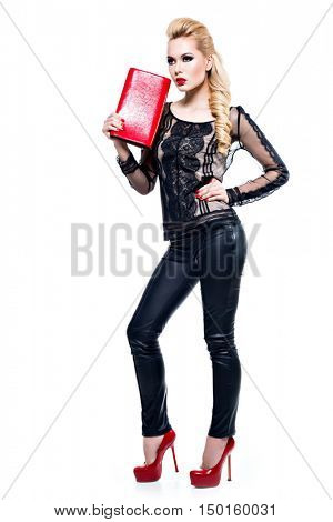 Beautiful fashion sexy woman with bright makeup posing at studio isolated on white background.