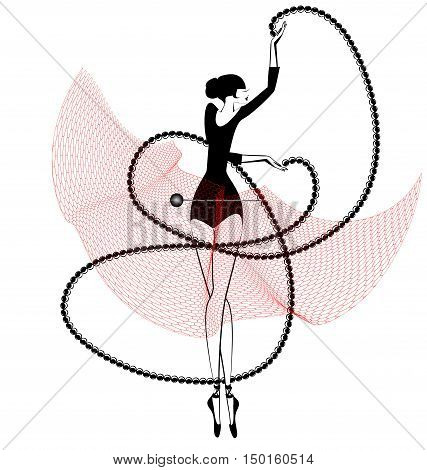white background and dancing black red ballet girl
