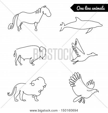 One line animals set, logos vector stock illustration