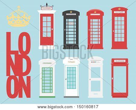United Kingdom Telephone Box London public call vector London word