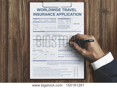 Worldwide Travel Insurance Application Form Concept