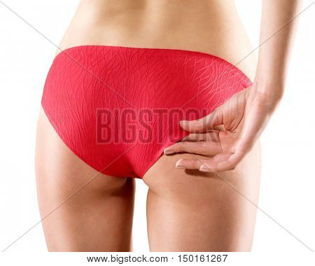 woman back in red panties . body parts sexy over white background