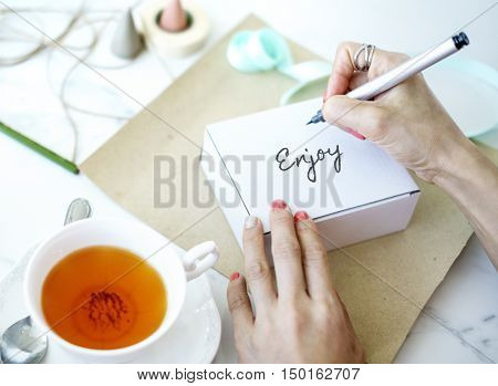 Drinking Cup of Tea Writing Concept