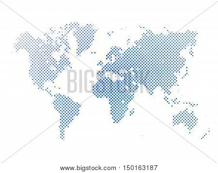 World map of blue dots on white background in corss arrangement. Map of world silhouette flat halftone vector theme.