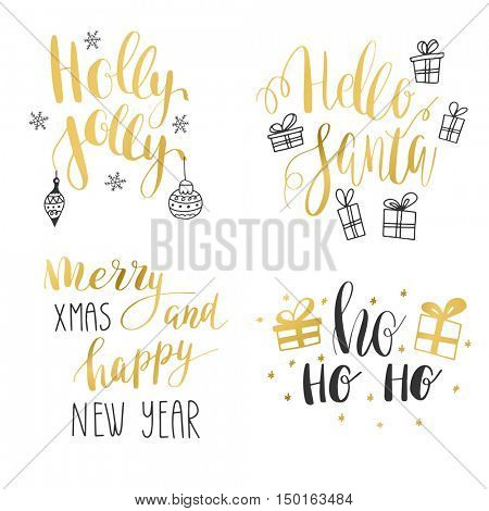 Set of hand calligraphic winter holidays quotes Jingle bells, Hello santa, Holly jolly christmas, Merry christmas and happy New year. Text with decorative elements bells, box, bow, snowflake, presents