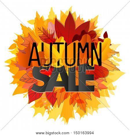 Color leaves illustration. Autumn sale vector concept