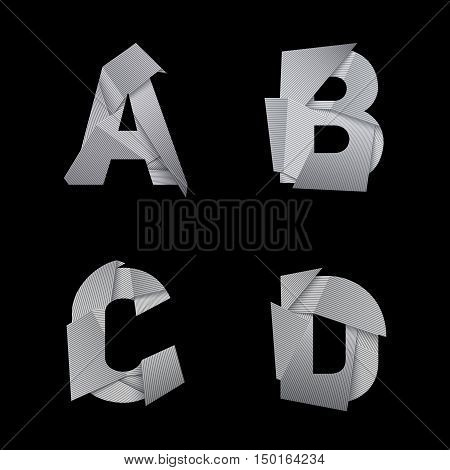Paper alphabet, isolated on black background. A, B, C, D letters. Eps10 vector.