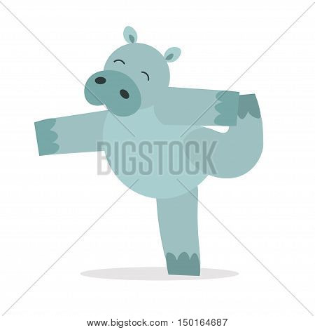 Yoga Animal Hippopotamus. Cute Hippo Does Asana. Keep Calm. Flat Design Style. Vector illustration