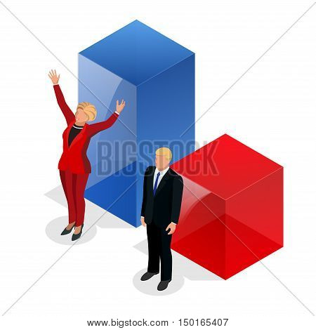 Us Election 2016 infographic Democrat Republican convention hall. Party presidential debate endorsement