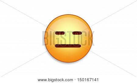 Expressionless emoji emoticon. Easy integration in photo and video.