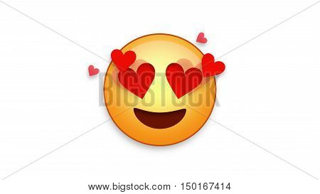 Lovestruck emoji emoticon. Easy integration in photo and video.