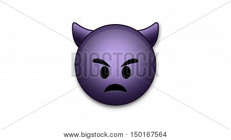 Sad Devil emoji emoticon. Easy integration in photo and video.