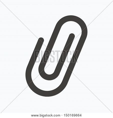Attachment icon. Paper clip symbol. Gray flat web icon on white background. Vector