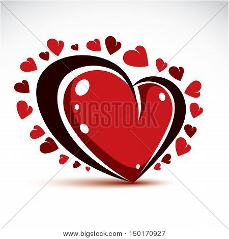 Vector Illustration Of 3D Elegant Red Love Heart Isolated. Valentine Day Theme Artistic Graphic Desi