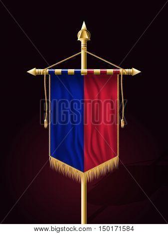 Flag Of Haiti. Festive Banner Vertical Flag With Flagpole