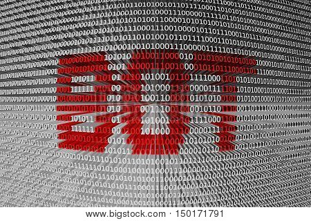 BOT as a binary code 3D illustration