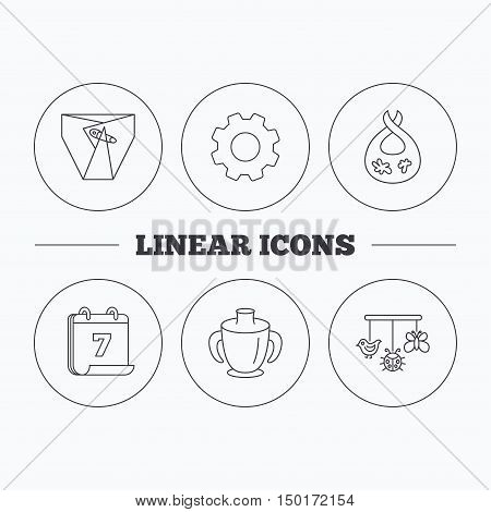 Diapers, child mug and baby toys icons. Dirty bib linear sign. Flat cogwheel and calendar symbols. Linear icons in circle buttons. Vector