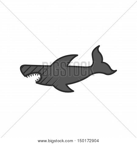 shark icon on white background for web