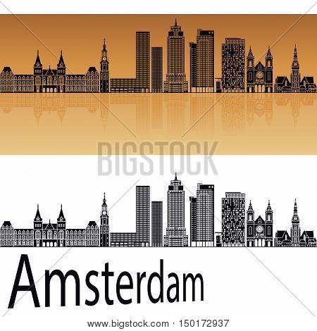 Amsterdam V2 skyline in orange background in editable vector file
