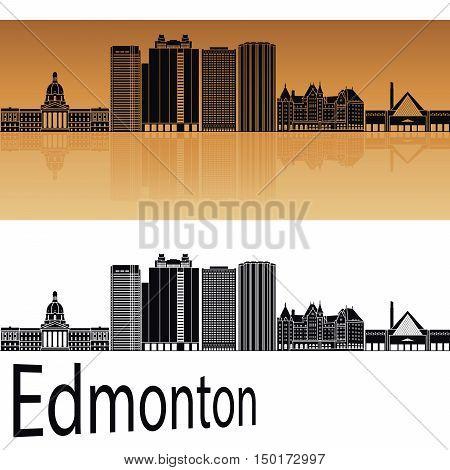 Edmonton V2 skyline in orange background in editable vector file