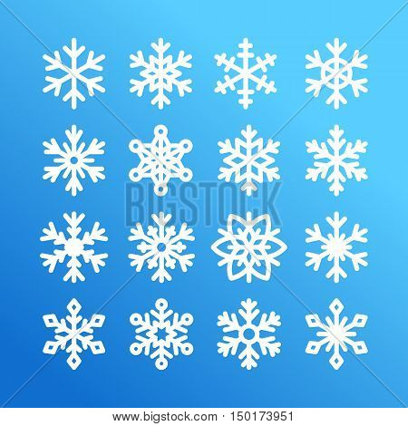 Cute snowflake collection isolated on blue background. Flat snow icons snow flakes silhouette. Nice element for christmas banner cards. New year ornament. Organic and geometric snowflakes set. White snowflake icon in modern flat style