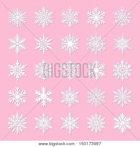 Cute snowflake collection isolated on pink background. Flat snow icons snow flakes silhouette. Nice element for christmas banner cards. New year ornament. Organic and geometric snowflakes set. White snowflake icon