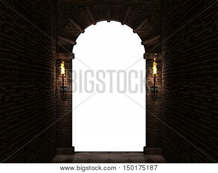 Medieval castle arch with columns and torches isolated on white background.3d illustration.