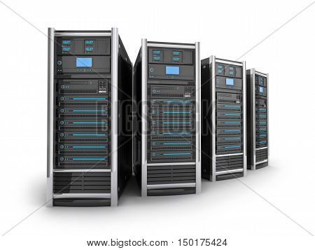 Four Server high-end view top on white background (done in 3d rendering)