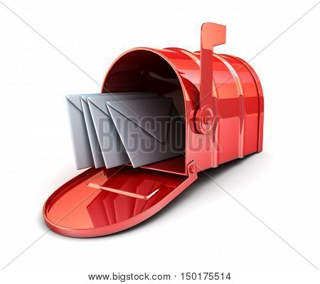 Red mailbox and envelope (done in 3d rendering)