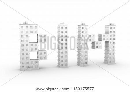 BIM in a multi-storey home white background 3D illustration