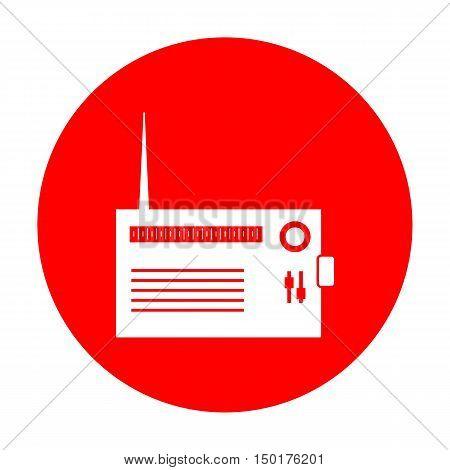Radio Sign Illustration. White Icon On Red Circle.