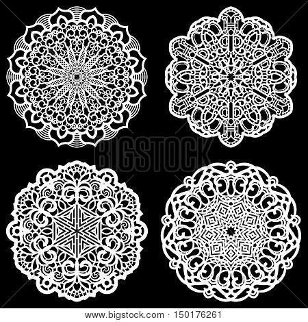 Set of design elements lace round paper doily doily to decorate the cake template for cutting snowflake greeting element vector illustrations