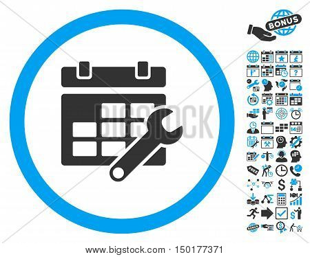 Timetable Options Wrench icon with bonus calendar and time management pictures. Vector illustration style is flat iconic bicolor symbols, blue and gray colors, white background.