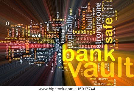 Software package box Word cloud concept illustration of bank vault