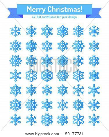 Cute snowflake collection isolated on white background. Flat snow icons snow flakes silhouette. Nice element for christmas banner cards. New year ornament. Organic and geometric snowflakes set. Blue snowflake icon in modern flat style