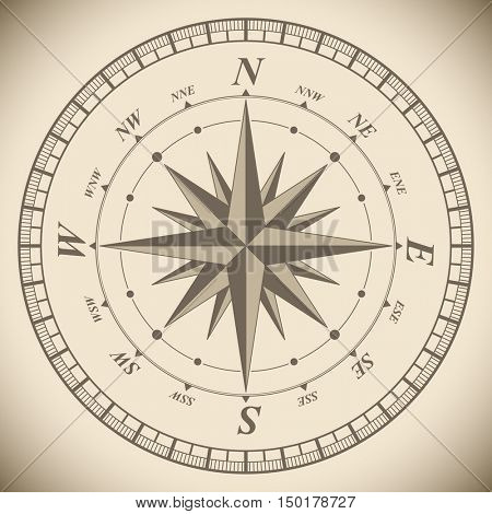 Vintage compass wind rose vector template. Adventure symbol illustration.