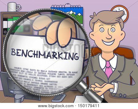 Benchmarking. Smiling Officeman in Office Workplace Shows Text on Paper through Magnifying Glass. Colored Doodle Illustration.