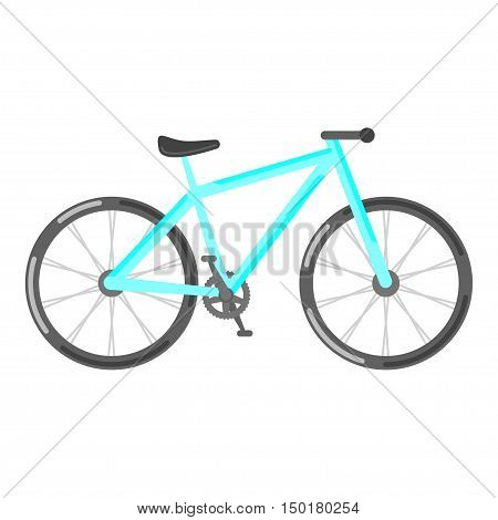 Vector flat style illustration of bicycle. Isolated on white background.