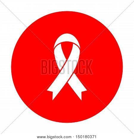 Black Awareness Ribbon Sign. White Icon On Red Circle.
