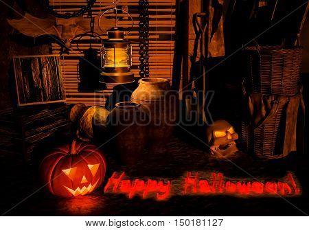 Halloween night on the old thrown farm. 3D illustration