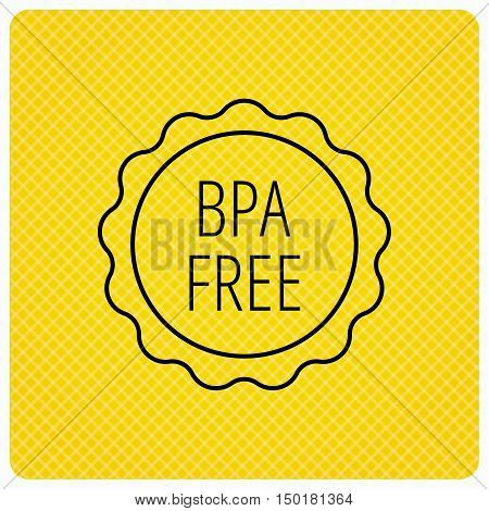 BPA free icon. Bisphenol plastic sign. Linear icon on orange background. Vector