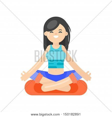 Vector flat style illustration of asian woman doing yoga. Girl in lotus position. Isolated on white background.
