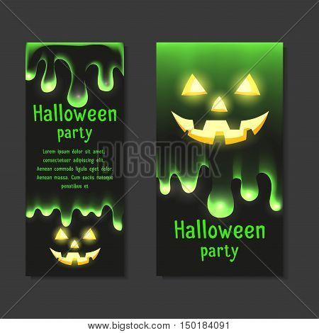 Set invitations Halloween party with clear mucus dripping and smiling Jack lantern. Vector element for your design