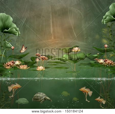 Fantasy green pond with water lilies and fishes - 3D and digital painted illustration