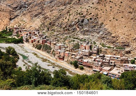 Small typical berber village in the mountains Morocco