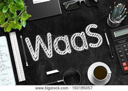 WaaS - Black Chalkboard with Hand Drawn Text and Stationery. Top View. 3d Rendering.